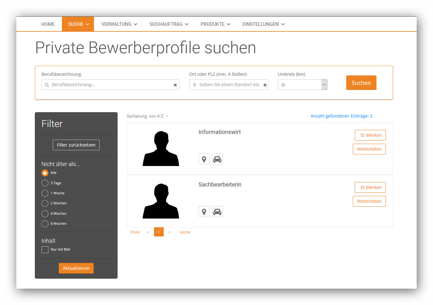 Private Bewerberprofile